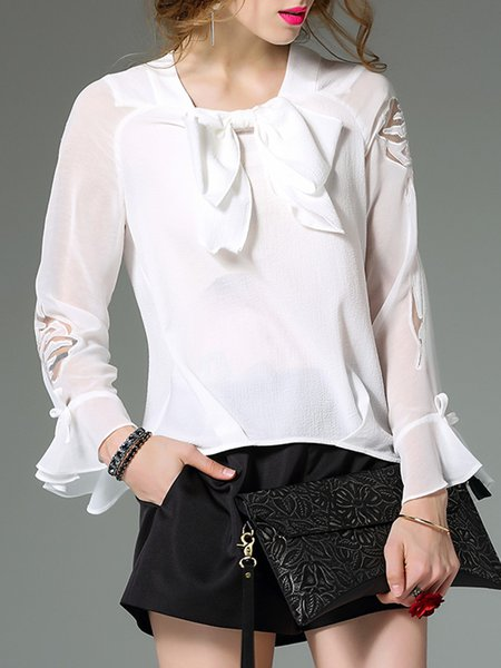 Frill Sleeve Crew Neck Girly Bow Blouse