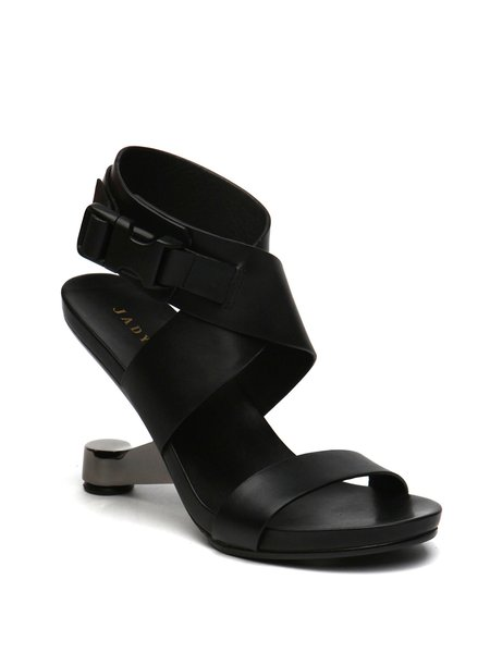 Black Buckle Leather Summer Casual Sandals