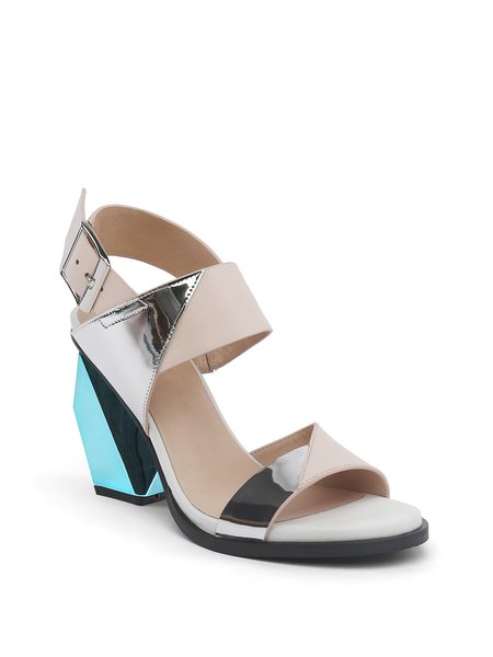 Apricot Buckle Chunky Heel Leather Sandals