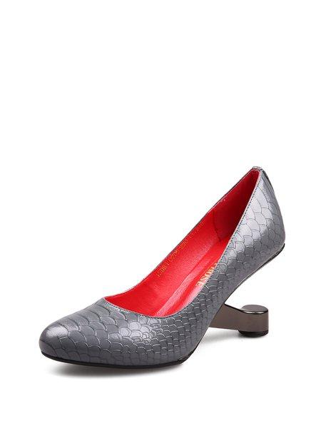 Deep Gray Casual Animal Print Summer Heels