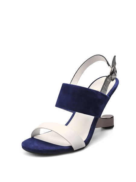 Blue Buckle Summer Leather Sandals