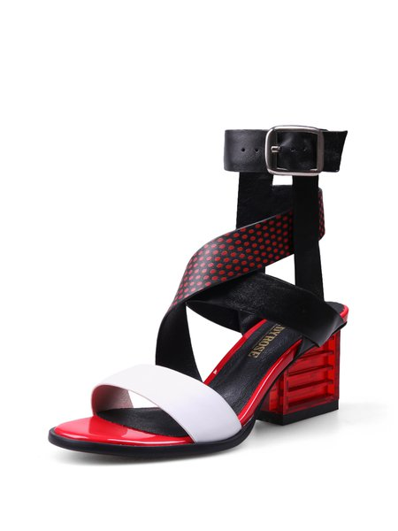 Red Summer Leather Buckle Sandals