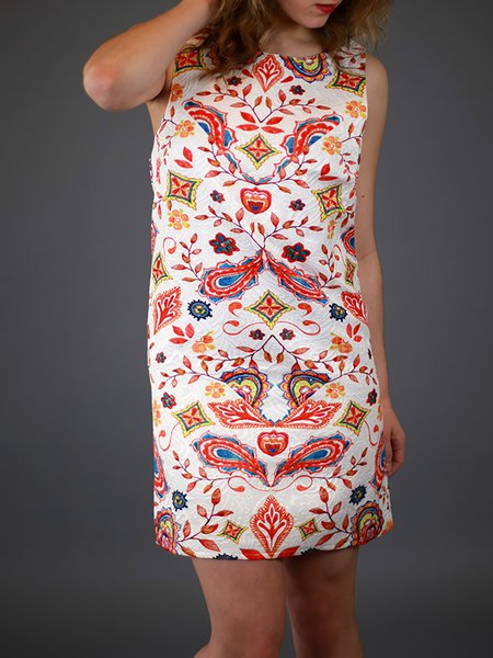 Red Hand-drawn Casual Mini Dress