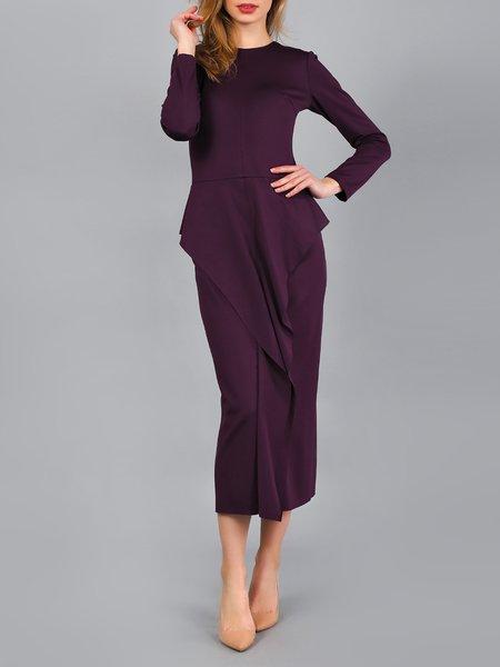 Purple Long Sleeve Ruffled Solid Midi Dress
