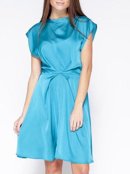 Aqua A-line Casual Slash Neck Midi Dress