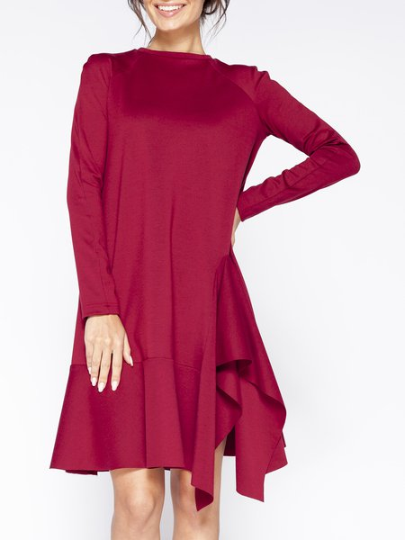 Red Solid Long Sleeve Midi Dress