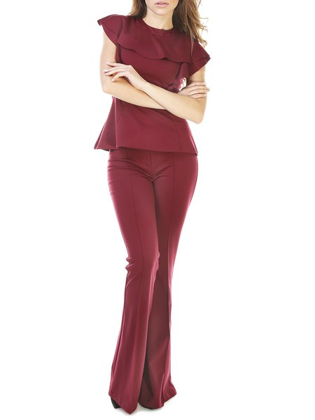 Red Two Piece Crew Neck Casual Top With Pants