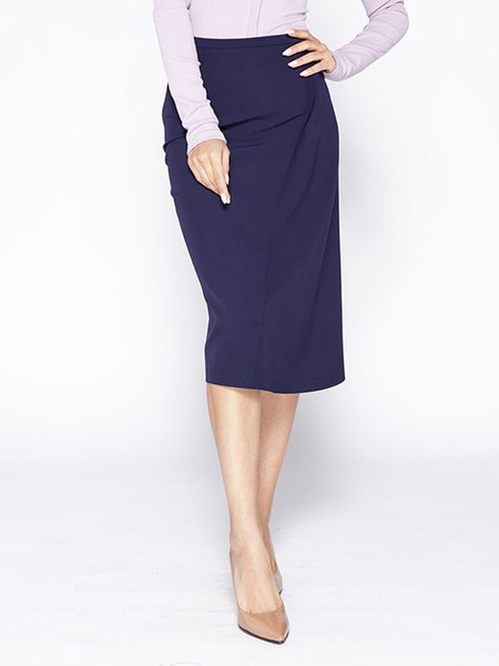 Navy Blue Elegant Sheath Midi Skirt