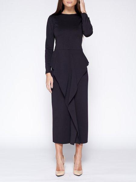 Sheath Elegant Crew Neck Long Sleeve Ruffled Midi Dress