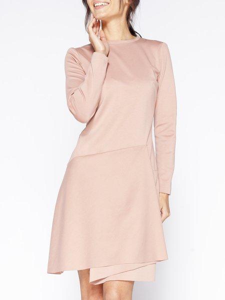 Pink Long Sleeve Crew Neck A-line Midi Dress