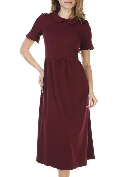Peter Pan Collar Short Sleeve Gathered Casual Midi Dress