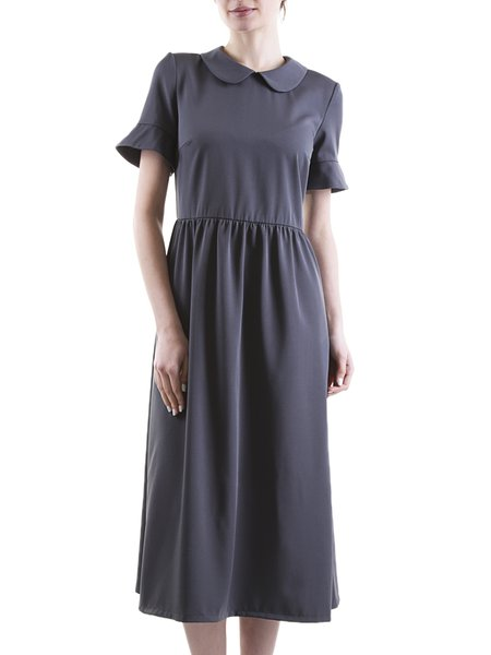 Gray Peter Pan Collar Short Sleeve Solid A-line Midi Dress