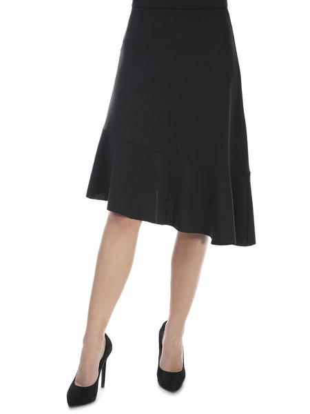 Black Casual A-line Flounce Midi Skirt