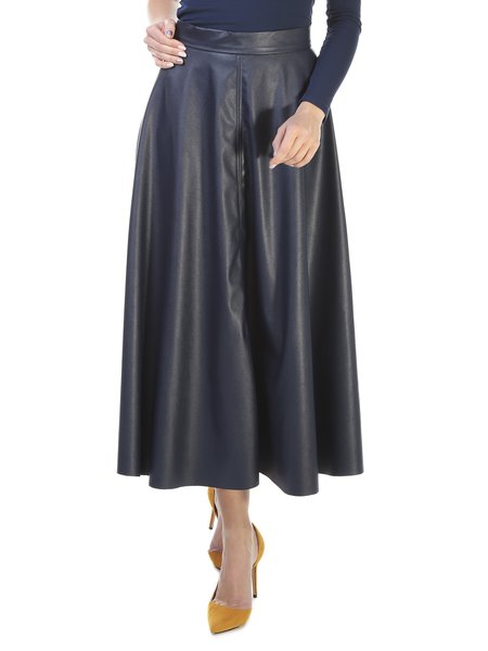Navy Blue Solid Gathered A-line Casual Midi Skirt