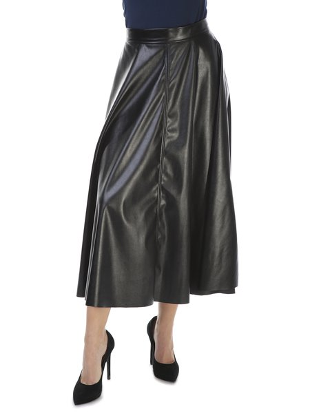 Black Casual Gathered A-line Solid Midi Skirt