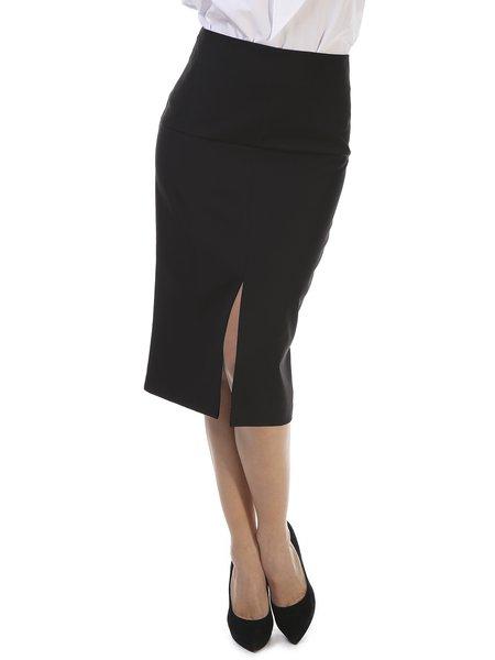 Black Elegant Slit Sheath Midi Skirt