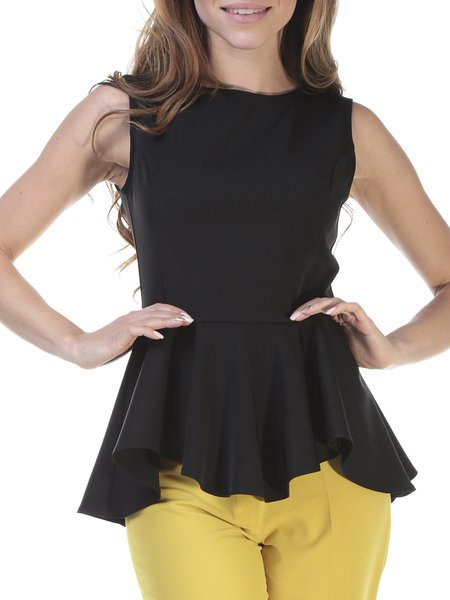 Black Crew Neck Flounce Sleeveless Top