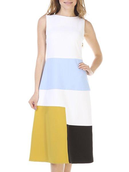 Sleeveless Geometric Casual A-line Color-block Midi Dress