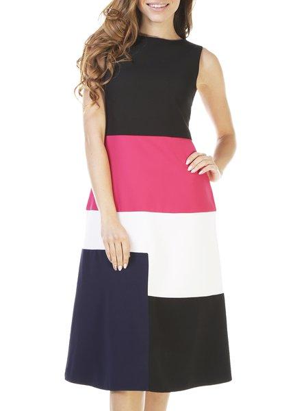 Multicolor Color-block Slash Neck Casual A-line Midi Dress