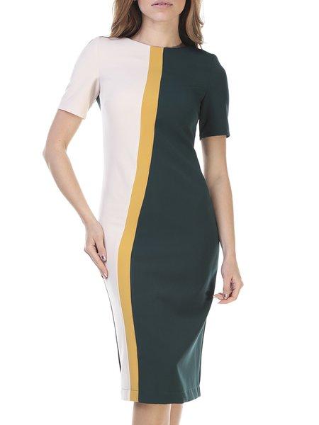 Elegant Shorts Sleeve Slash Neck Sheath Color-block Midi Dress