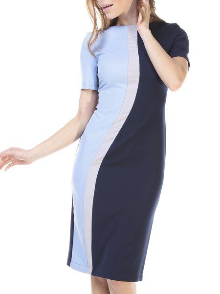 Blue Color-block Sheath Slash Neck Casual Midi Dress