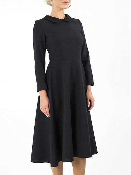 Black Peter Pan Collar Casual A-line Midi Dress