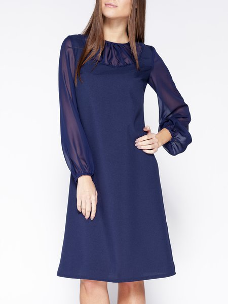 Navy Blue Crew Neck Casual Shift Midi Dress