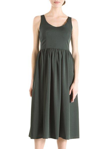 Dark Green Sleeveless Gathered Midi Dress