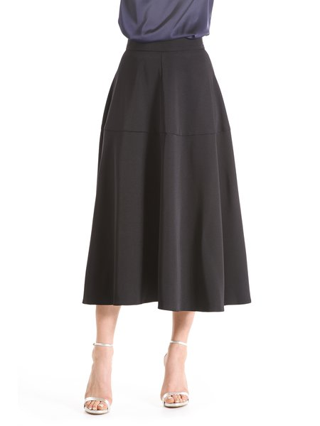 Black A-line Casual Solid Midi Skirt
