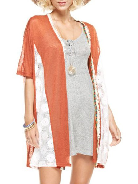 Lace Half Sleeve Paneled Resort Cardigan