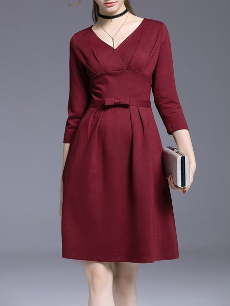 Burgundy Plain Elegant V Neck Midi Dress