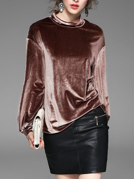 https://www.stylewe.com/product/coffee-h-line-velvet-slit-casual-long-sleeved-top-89605.html