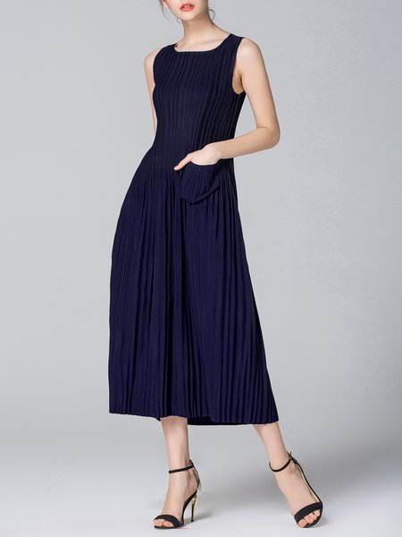 Blue Pockets Sleeveless Midi Dress