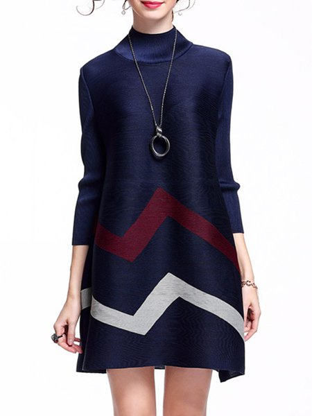 Casual Ribbed 3/4 Sleeve A-line Polyester Mini Dress
