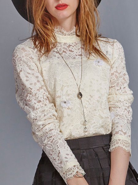 Beige Crocheted Lace Long Sleeve Plain Blouse