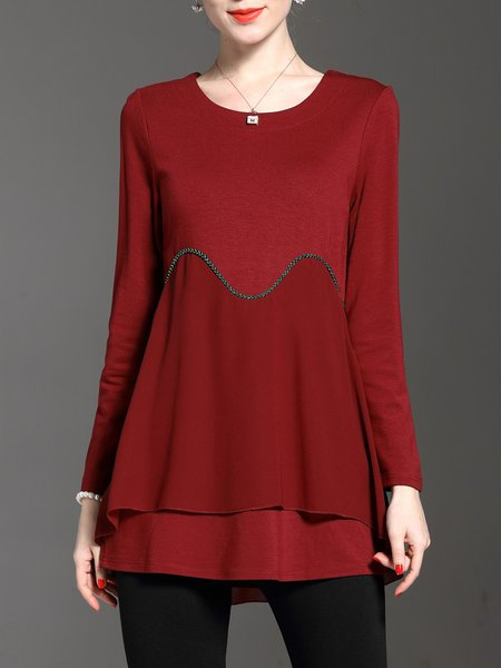 Red Embellished Casual Solid Crew Neck Long Sleeved Top