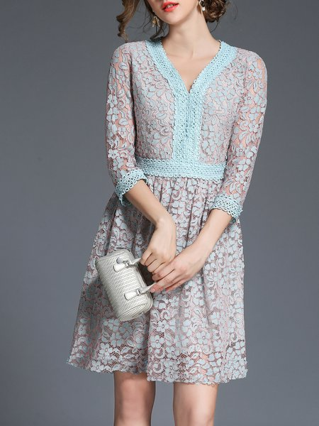 Lavender Paneled Elegant Midi Dress