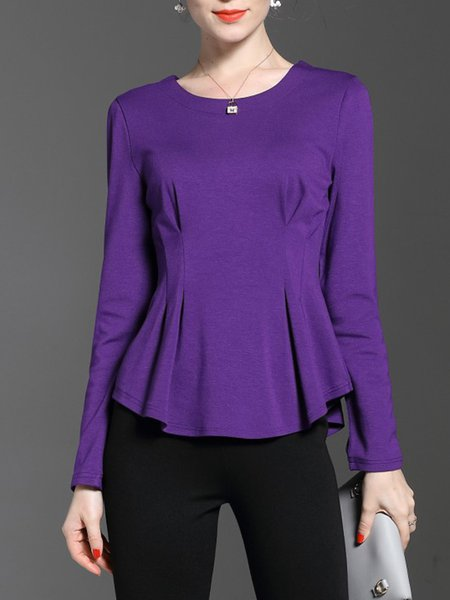 Purple Crew Neck Casual Solid Long Sleeved Top