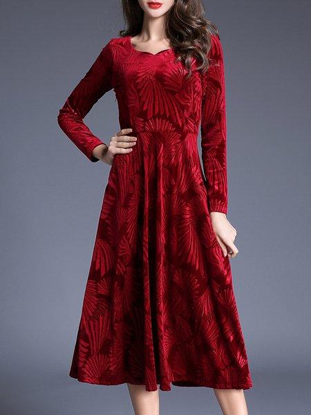 Red Elegant Floral Midi Dress