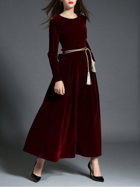 Long Sleeve Elegant Maxi Velvet Dress