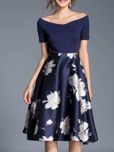 Floral Elegant Printed/Dyed Shorts Sleeve Mini Dress