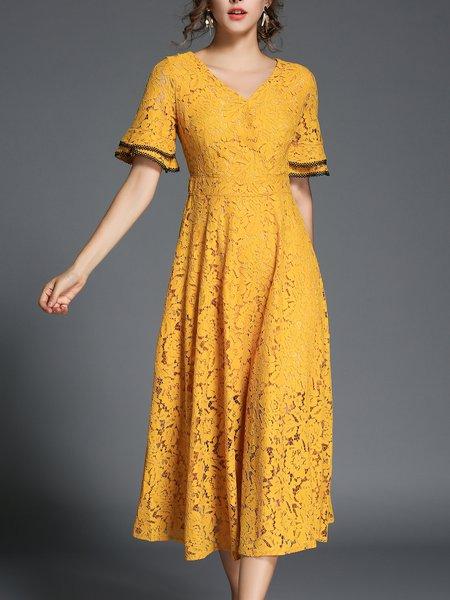 Half Sleeve A-line V neck Elegant Midi Dress