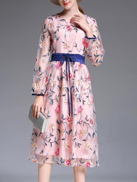 Elegant A-line Long Sleeve Midi Dress