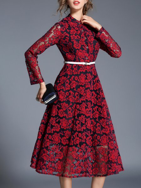 Stand Collar See-through Look Long Sleeve Midi Dress