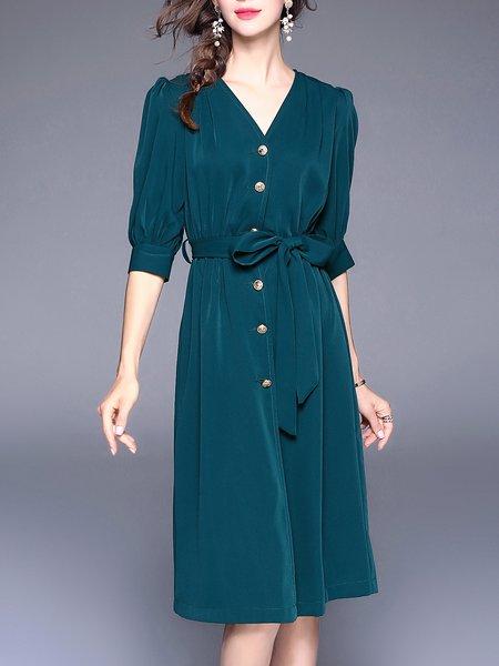 Dark Green Half Sleeve Solid Midi Dress