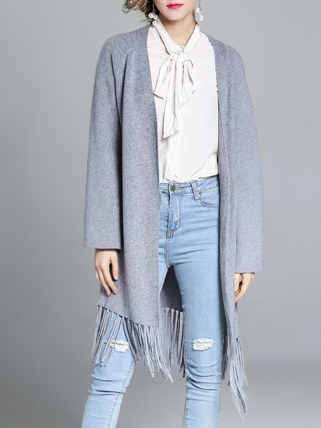 Gray Solid Long Sleeve Rayon Fringed Cardigan