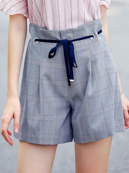 Gray Lace Up Polyester Plaid Casual Short