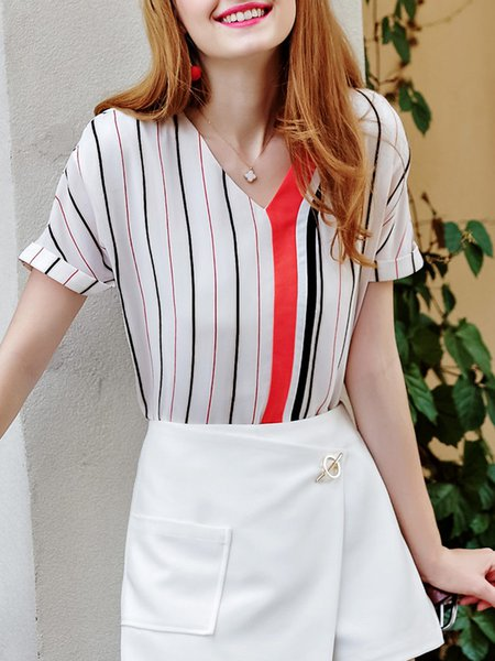 Multicolor Stripes Casual Polyester V Neck Blouse