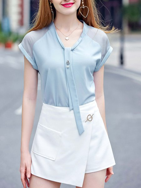 Light Blue Stand Collar Short Sleeve Blouse