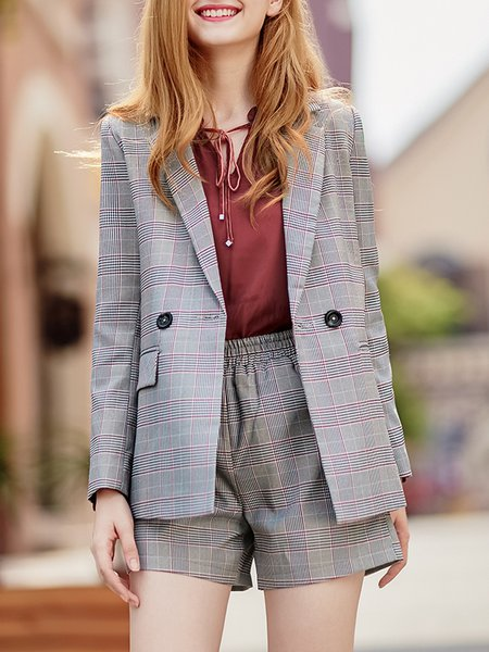 Lapel Long Sleeve Checkered/Plaid Casual Top With Pants